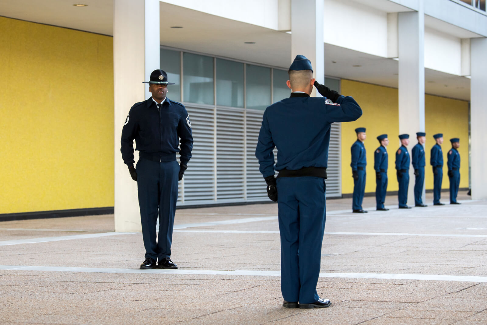 Cadets in front of building