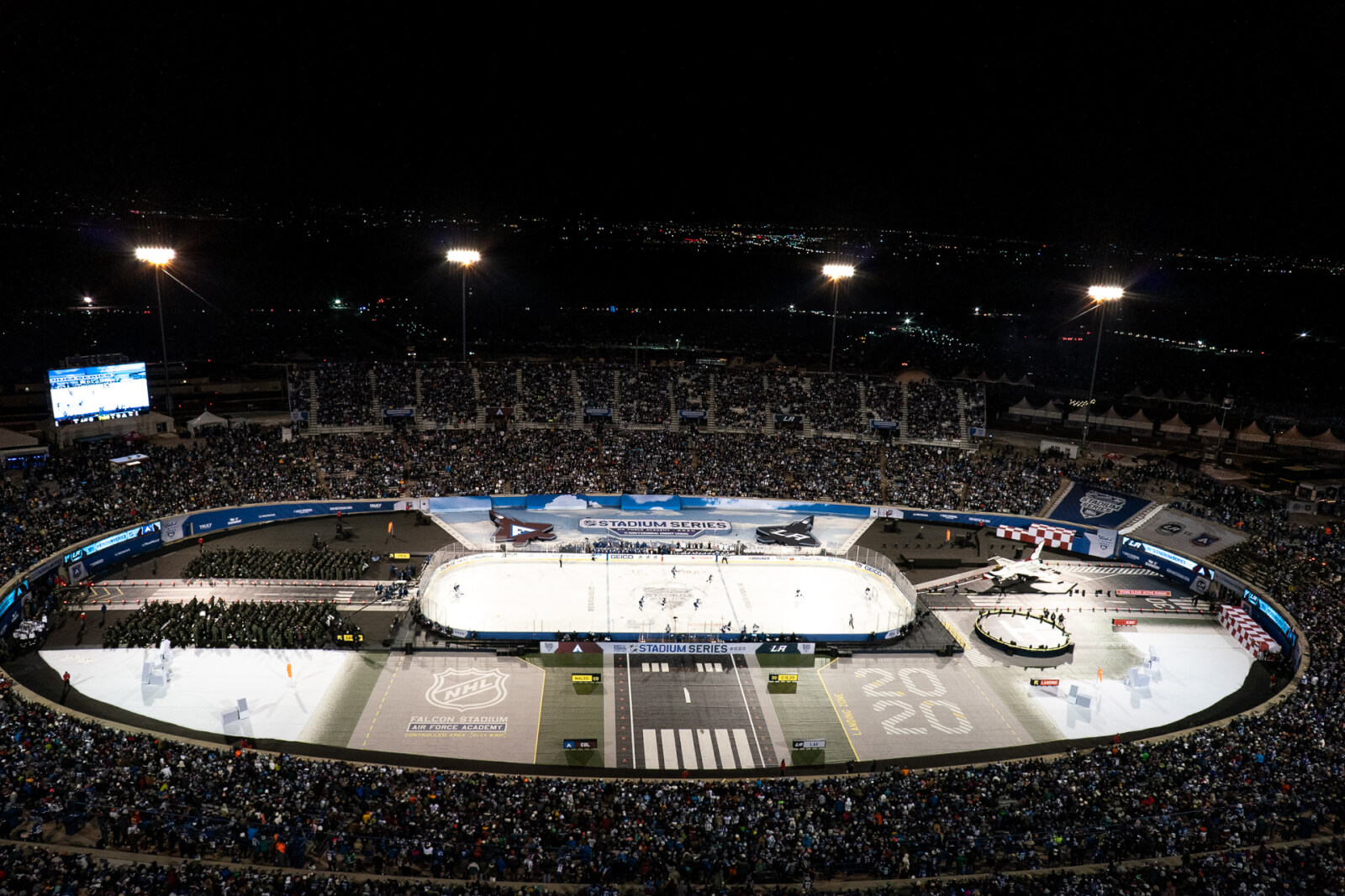 Aerial View of NHL Stadium Series hockey game at US Air Force Academy