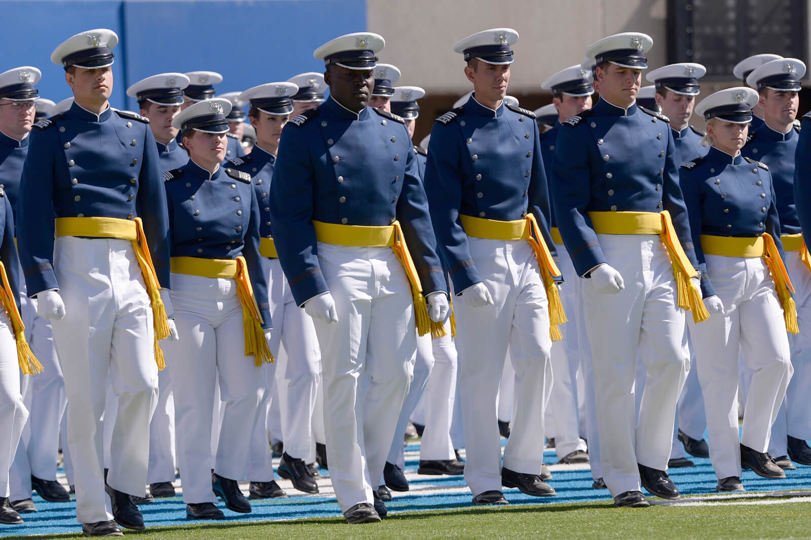 The U.S. Air Force Academy Class of 2014 marches into Falcon Stadium during commencement exercises in Colorado Springs, Colo. May 28, 2014.