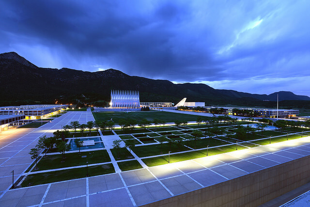 US Air Force Academy view at night