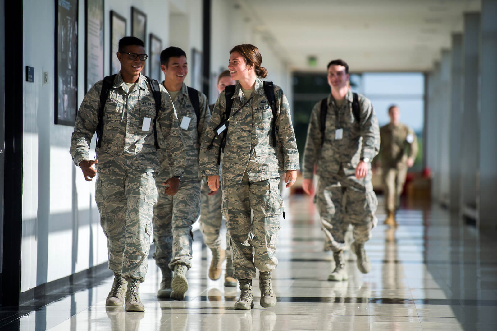 Cadets walking in hall
