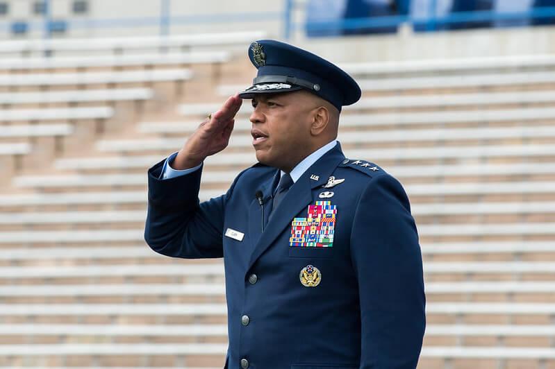 Lt. Gen. Richard M. Clark saluting