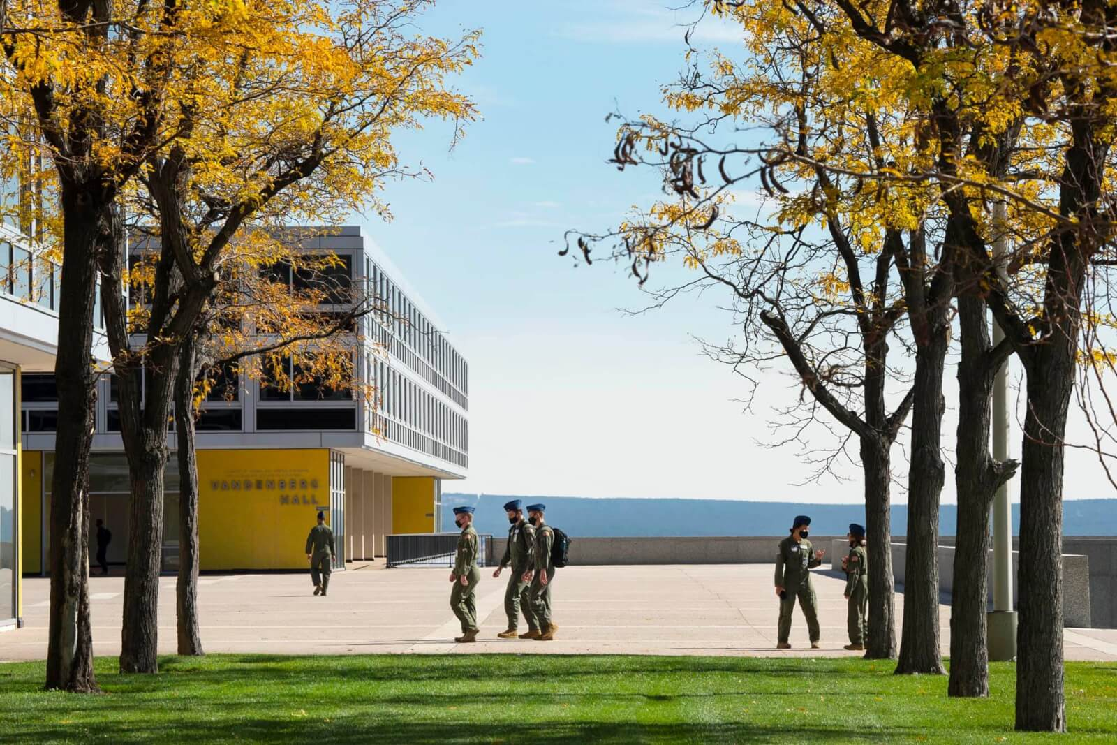 cadets walking on campus