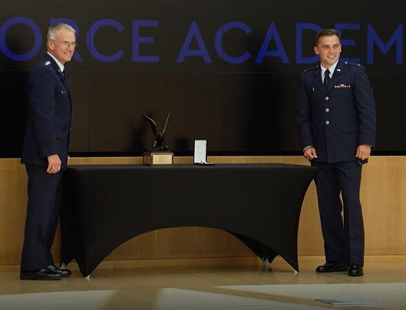 Lt Gen Silveria recognized the USAFA Class of 2020 Top Graduate, 2Lt Zack Bailey