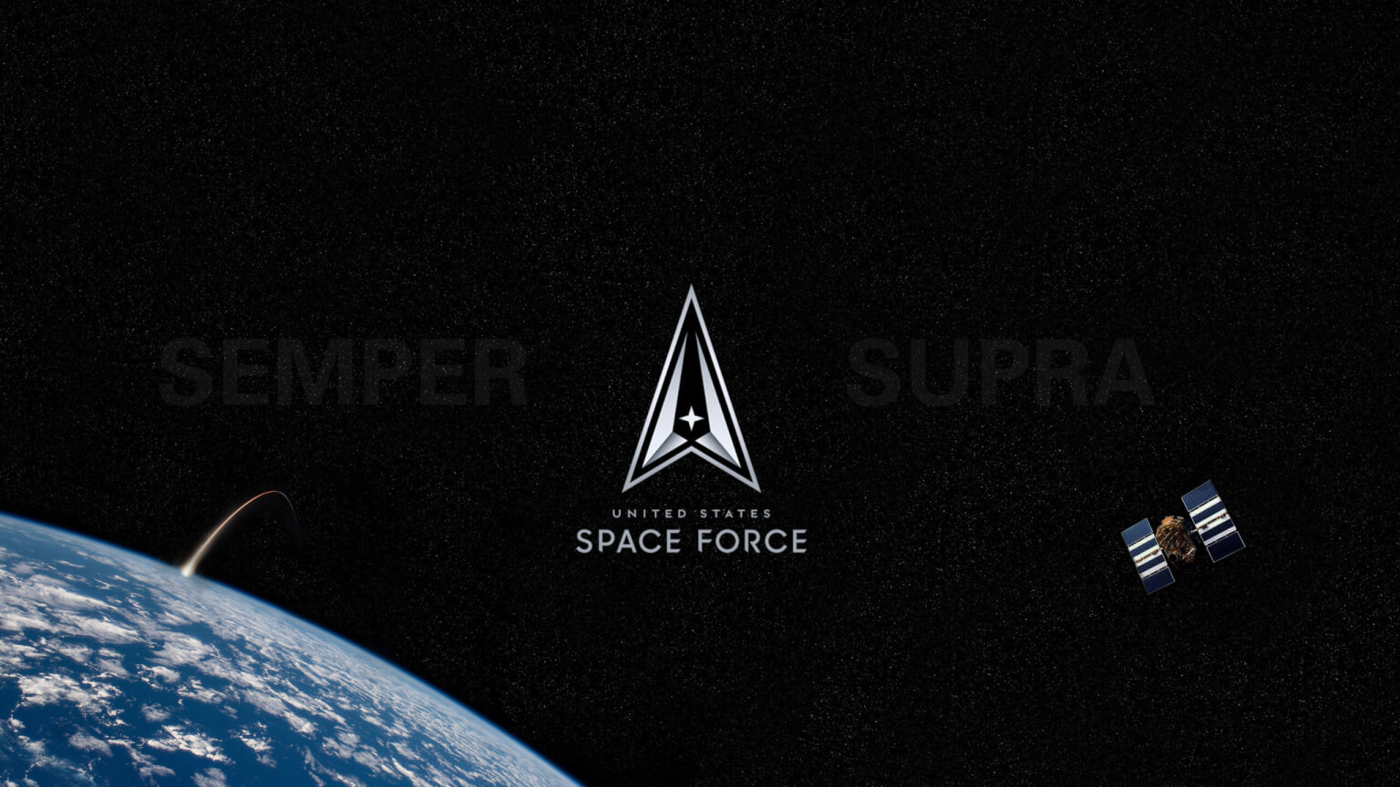 US Space Force logo in space