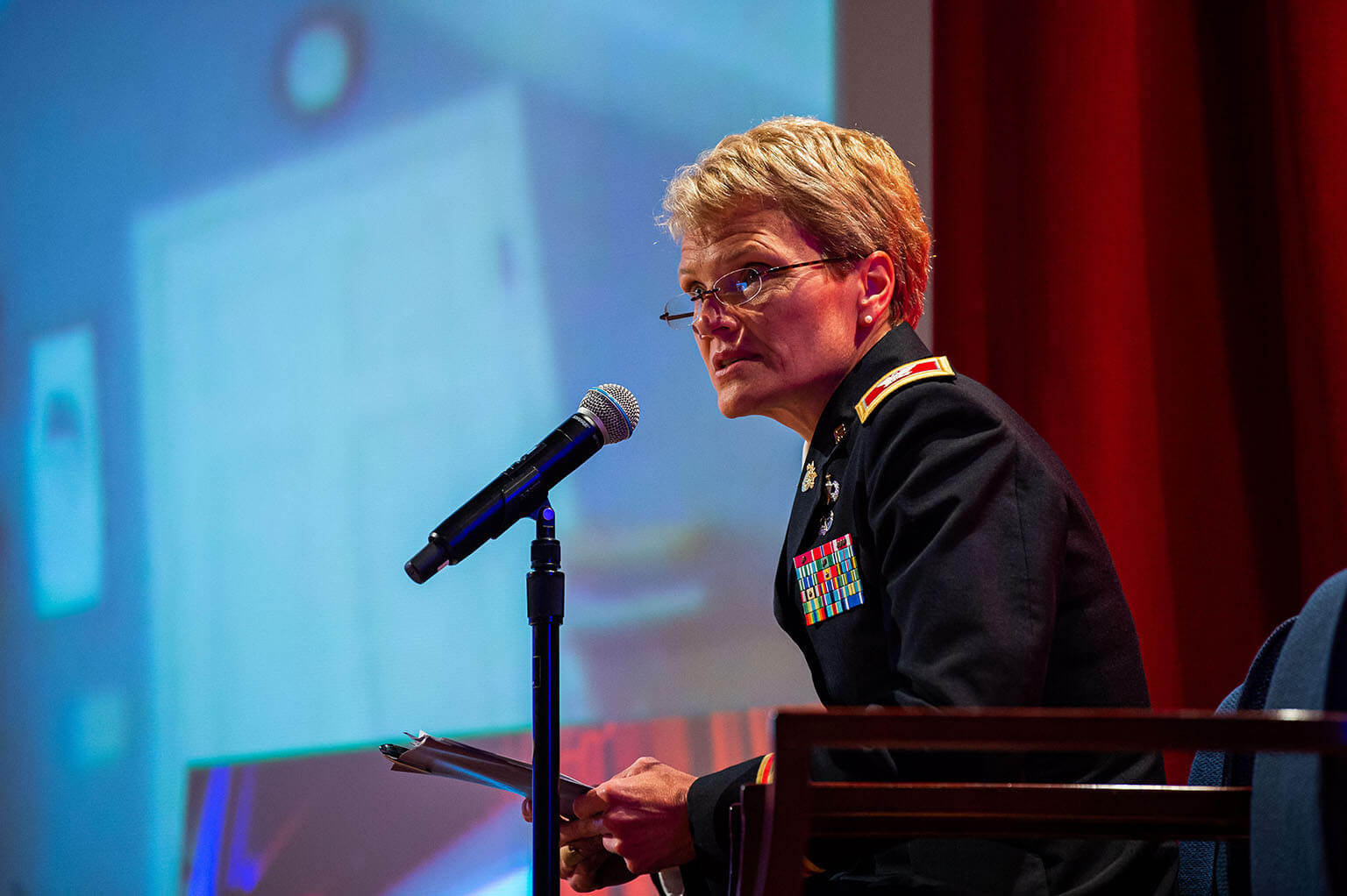 COL Suzanne Nielsen speaks at panel discussion, 'The Profession of Arms and the Preservation of Democratic Norms'