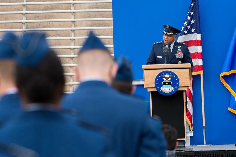 Superintendent at podium