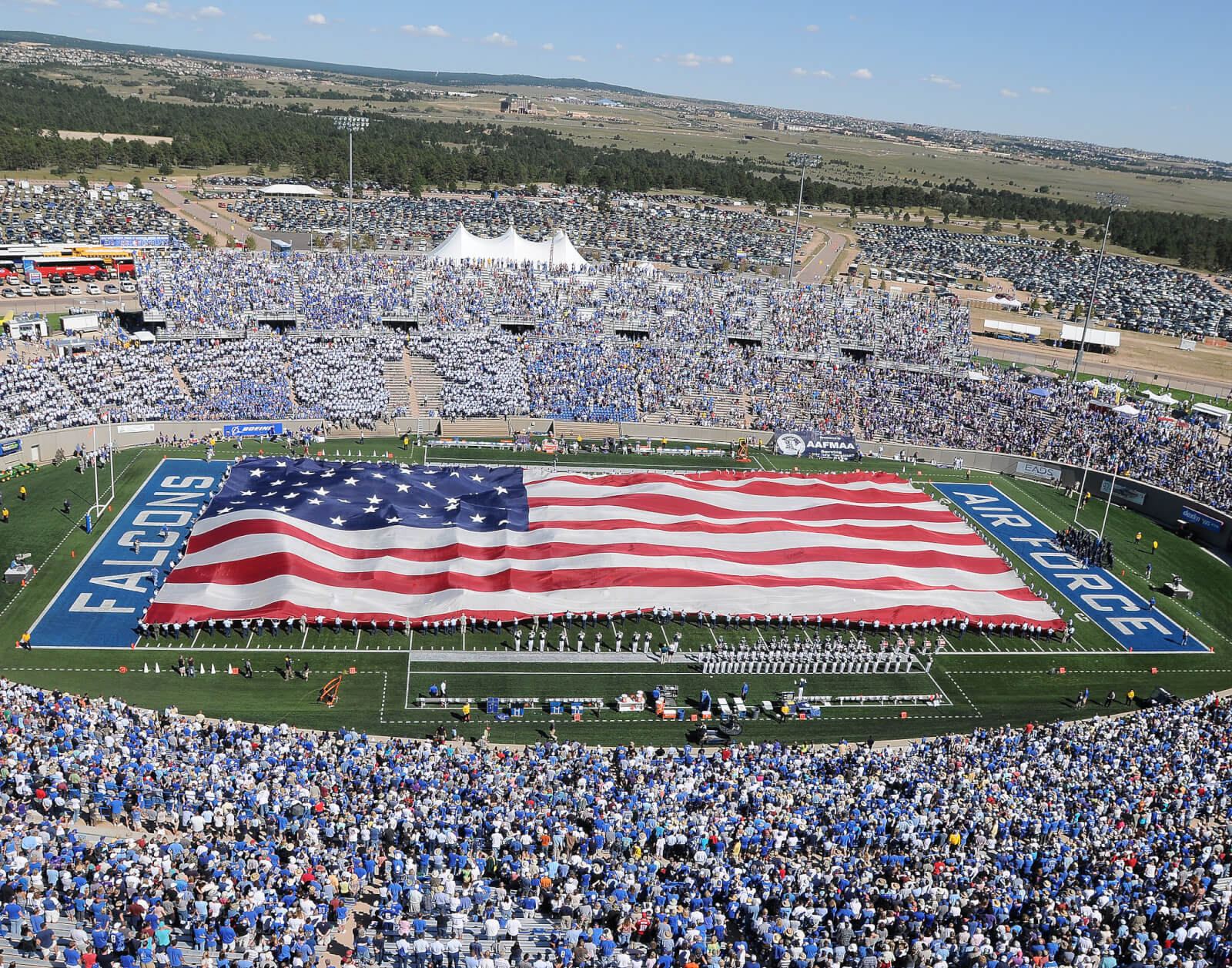 Air Force Academy stadium with flag on field