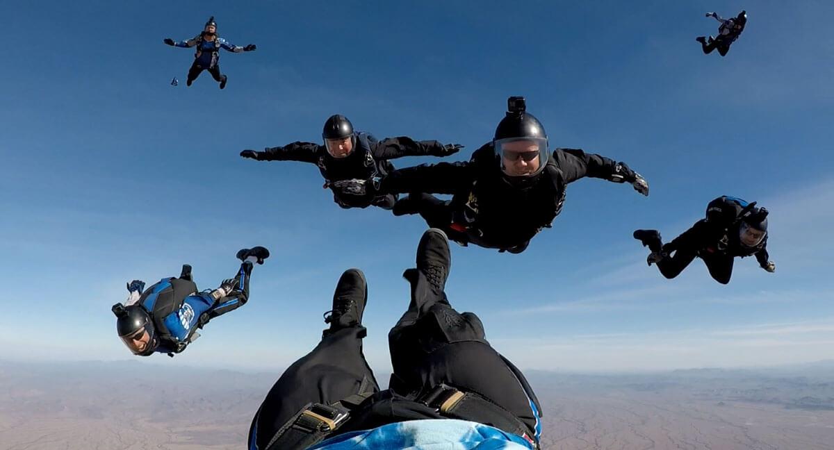 Wings of Blue team members skydiving