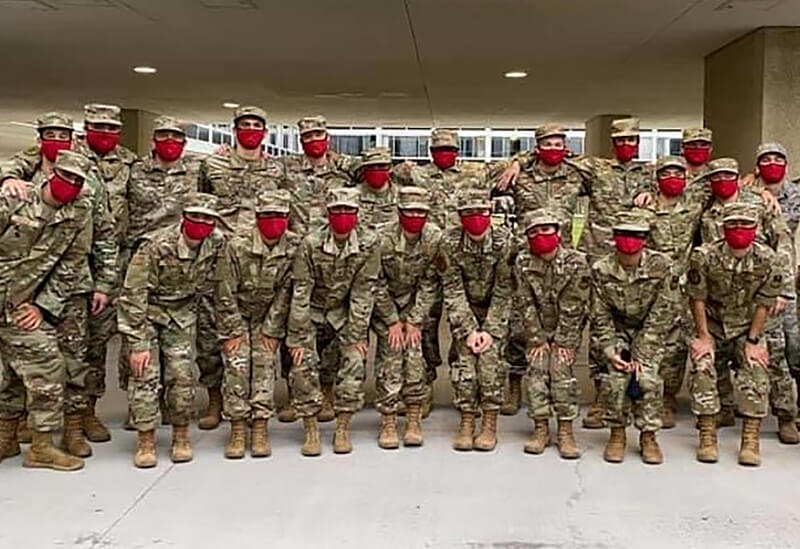 Graduate Spirit Mission cadets wearing red masks