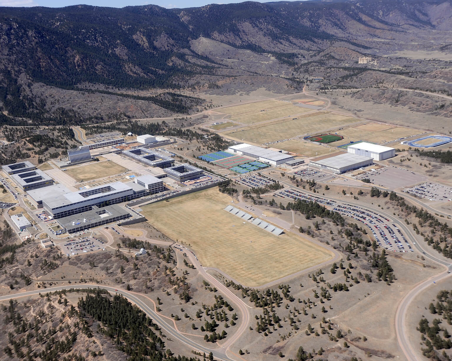 Aerial view of US Air Force Academy