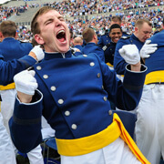 Image of a graduating cadet at a U.S. Air Force Academy graduation ceremony.