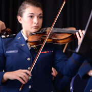 image of a cadet playing a violen.