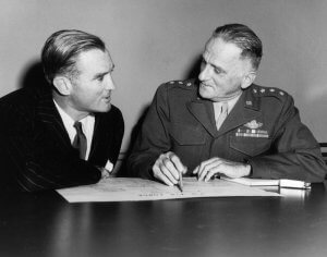 W. Stuart Symington, first Secretary of the Air Force and Gen. Carl Spaatz, first Air Force Chief of Staff