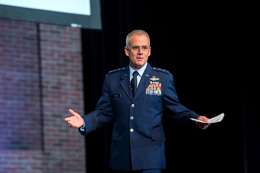 Our Superintendent, Lt Gen Jay Silveria, welcomed our audience and challenged everyone to open their minds and seek out opportunities to hear viewpoints that may be different from their own.