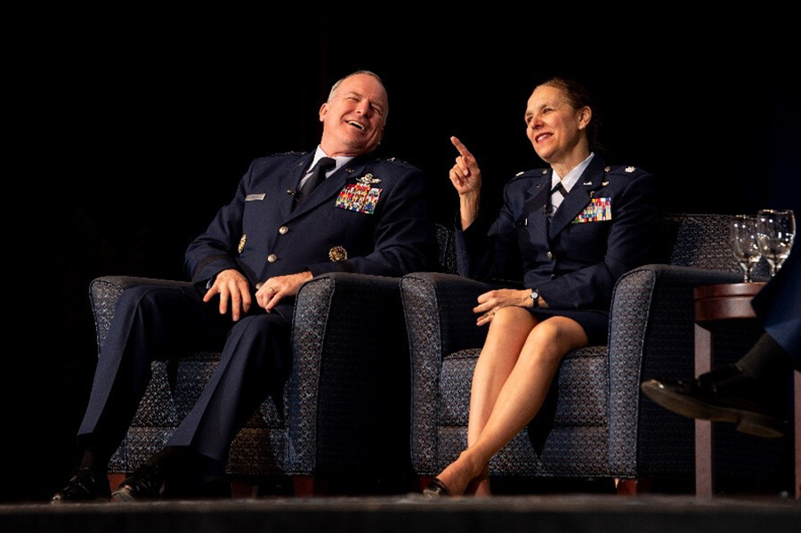 Maj Gen Fantini and his wife, Dr. Rizzo-Fantini share a lighthearted moment while discussing balancing life, leadership, and family.