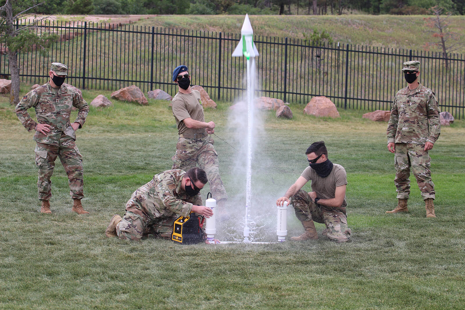 Cadets launching small rocket