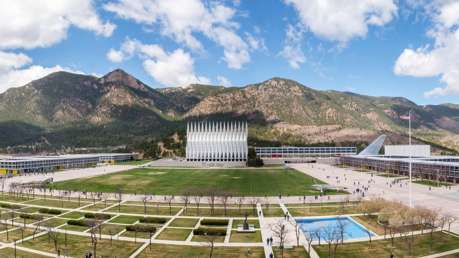 Aerial view of Air Force Academy
