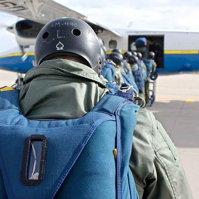 Cadets boarding skydiving plane