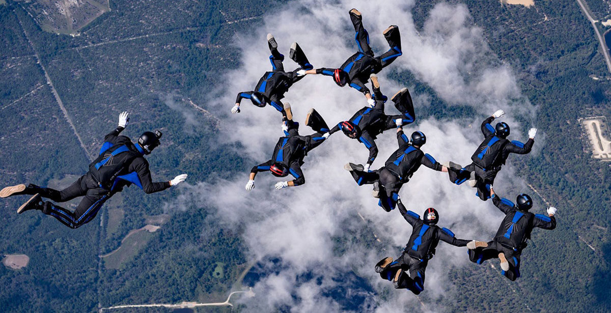 nine Wings of Blue skydivers in formation