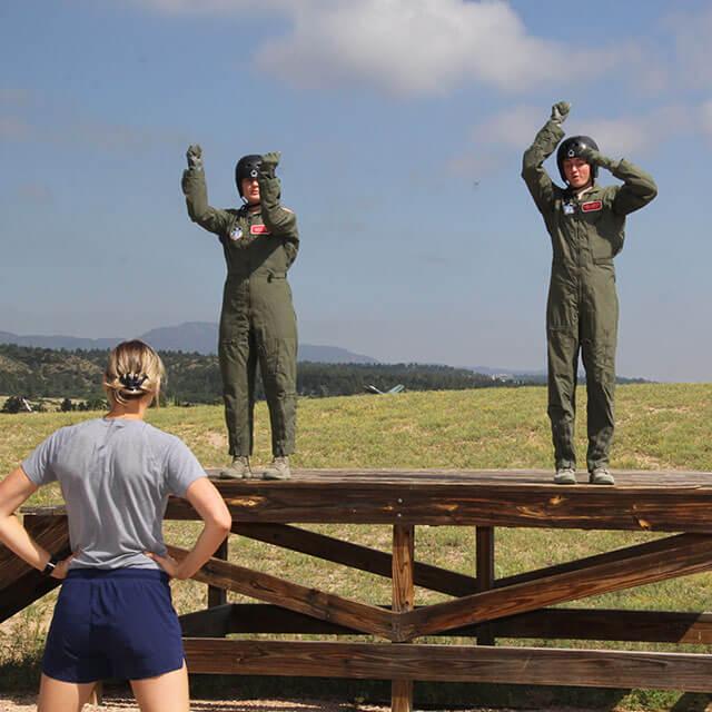 Cadets on wooden platform