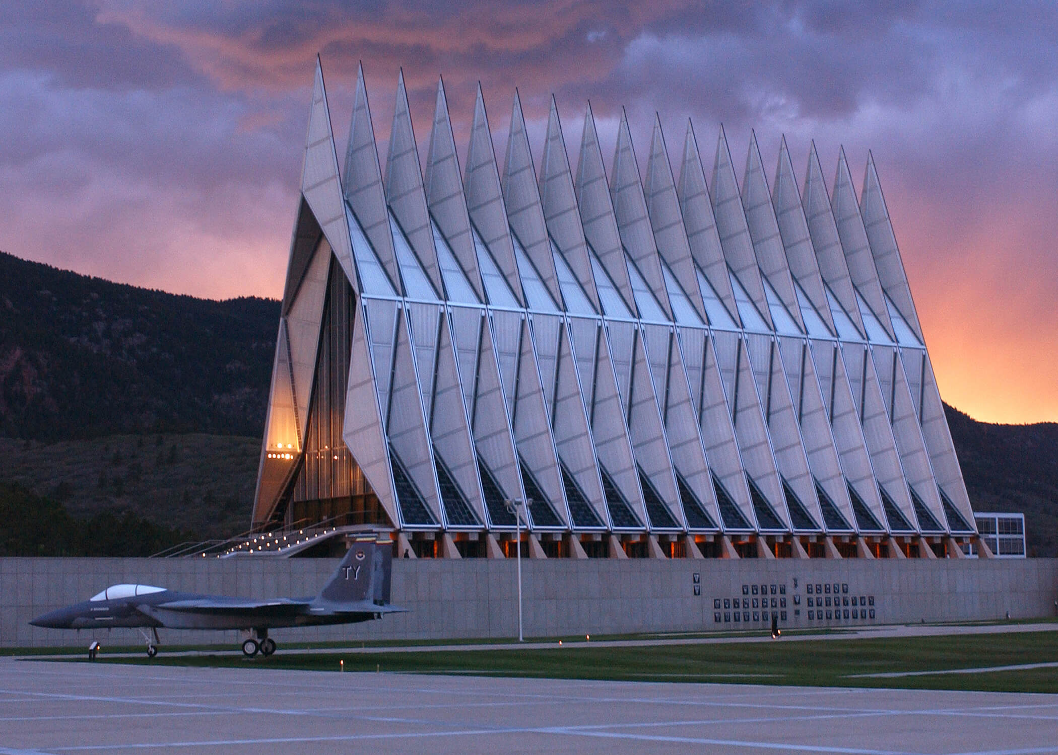 Image of a cadet chapel at the U.S. Air Force Academy.
