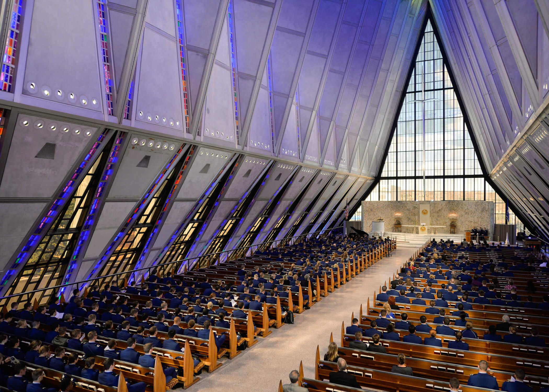 Image of a cadet chapel service at the U.S. Air Force Academy.