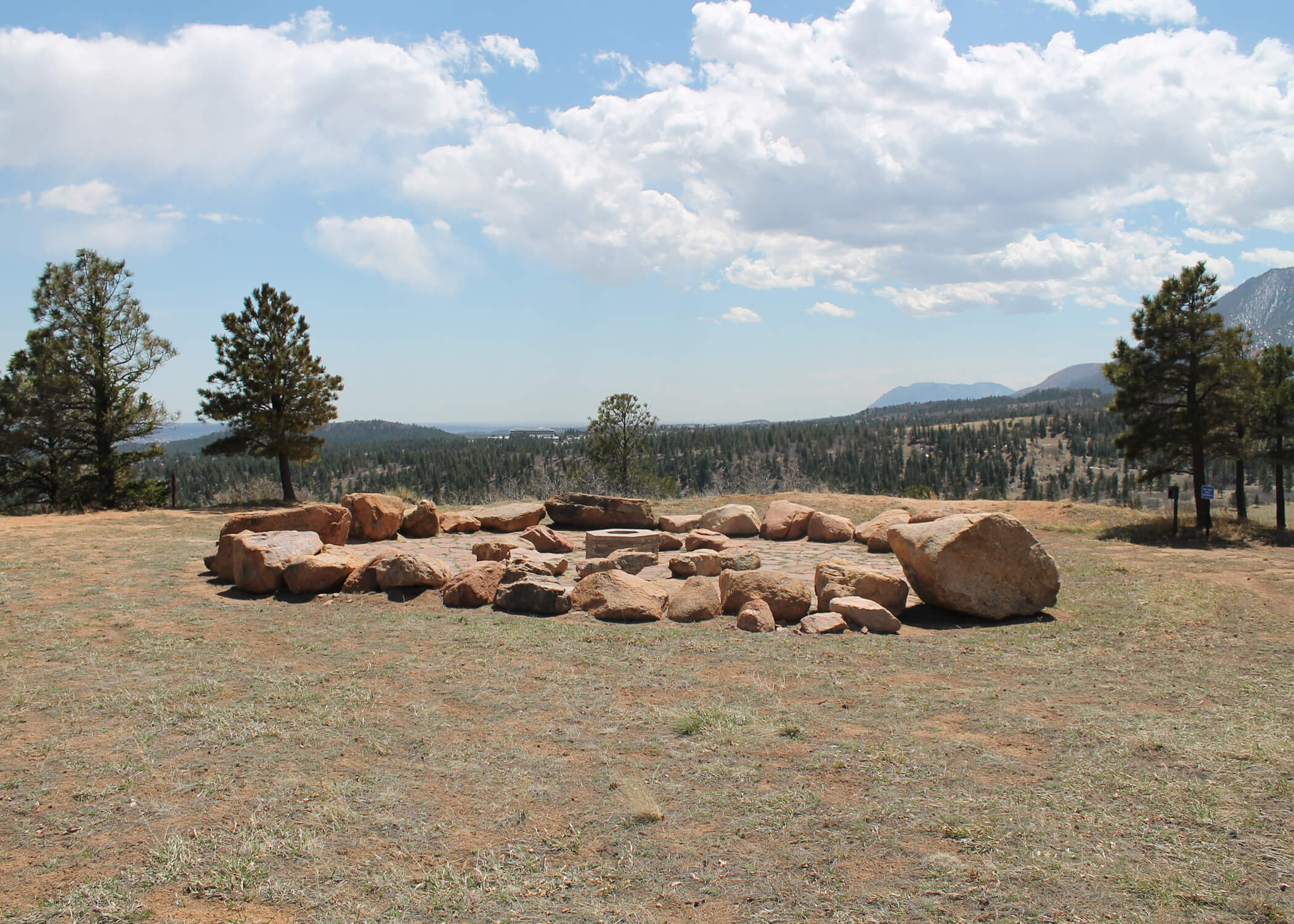 Image of rock circle for earth-centered spirituality community at the U.S. Air Force Academy