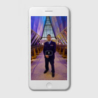image of a cadet at the cadet chapel.